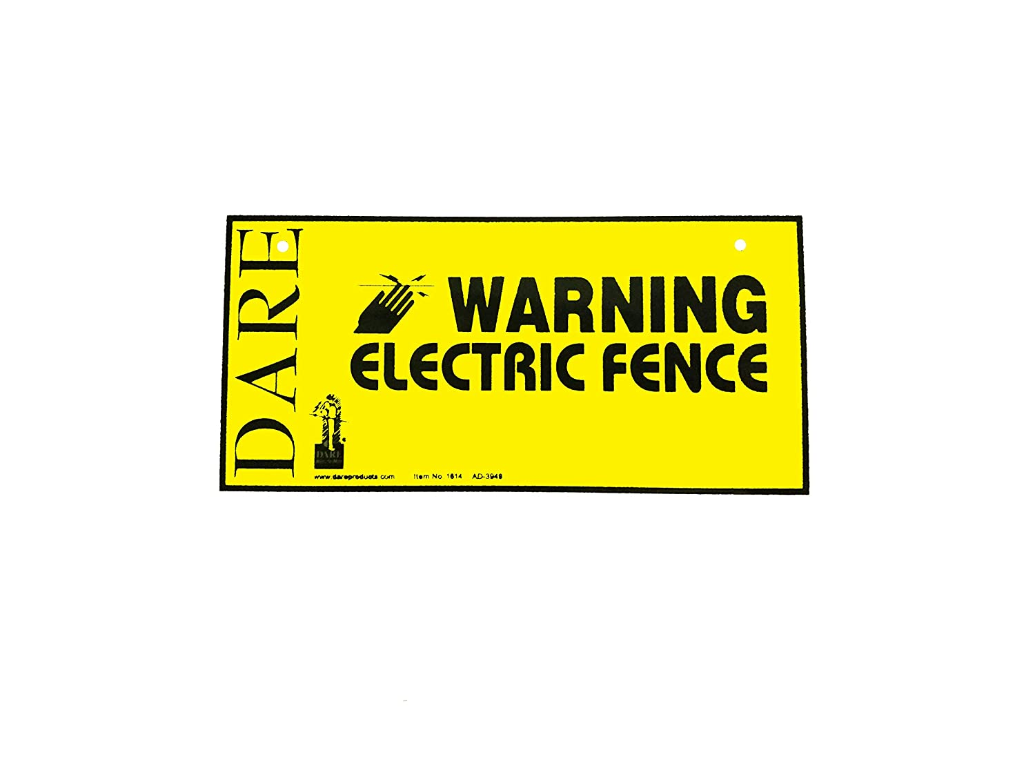 Dare Products  Electric Fence Warning Sign  Yellow