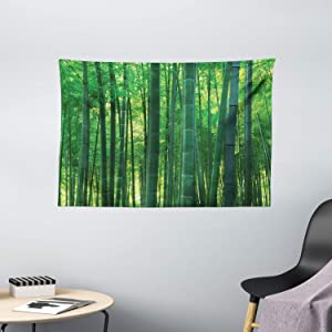 Ambesonne Bamboo House Decor Tapestry, Asian Oriental Exotic Bamboo Trees in The Rainforest Horizontal Jungle Stalk Nature View, Wall Hanging for Bedroom Living Room Dorm, 60 W X 40 L Inches, Green
