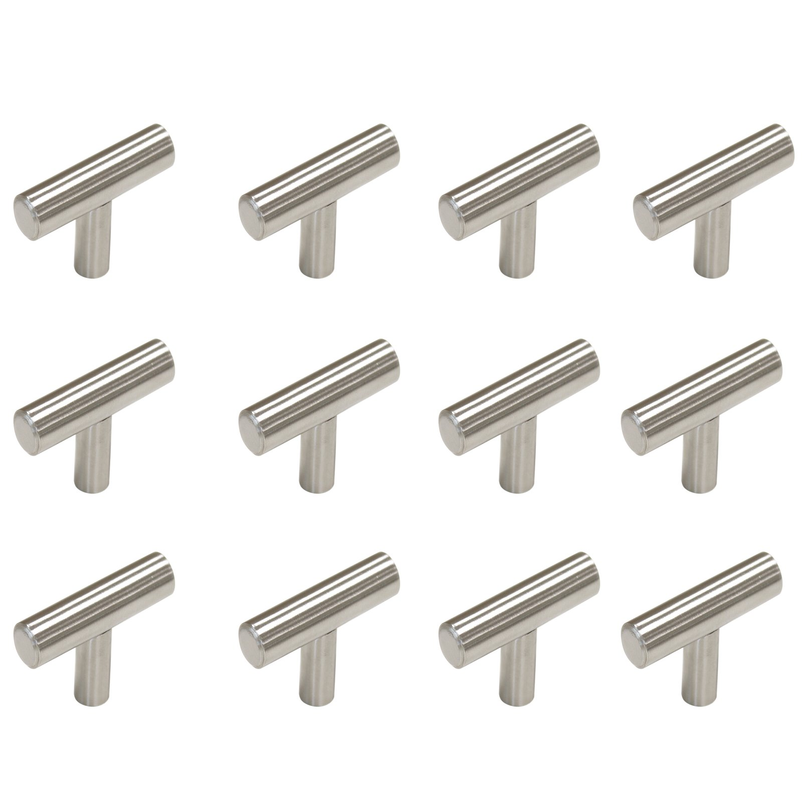 Gobrico Kitchen Cabinet Drawer Handles And Pulls Stainless Steel T-bar Knob(Length 50mm/2in 12Pack)