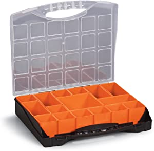 "Small Parts Organizer Compartment Storage Box for Hardware, Screws Nuts and Bolts With 16 Removable Bins 10"" x 12"" x 2¼"""