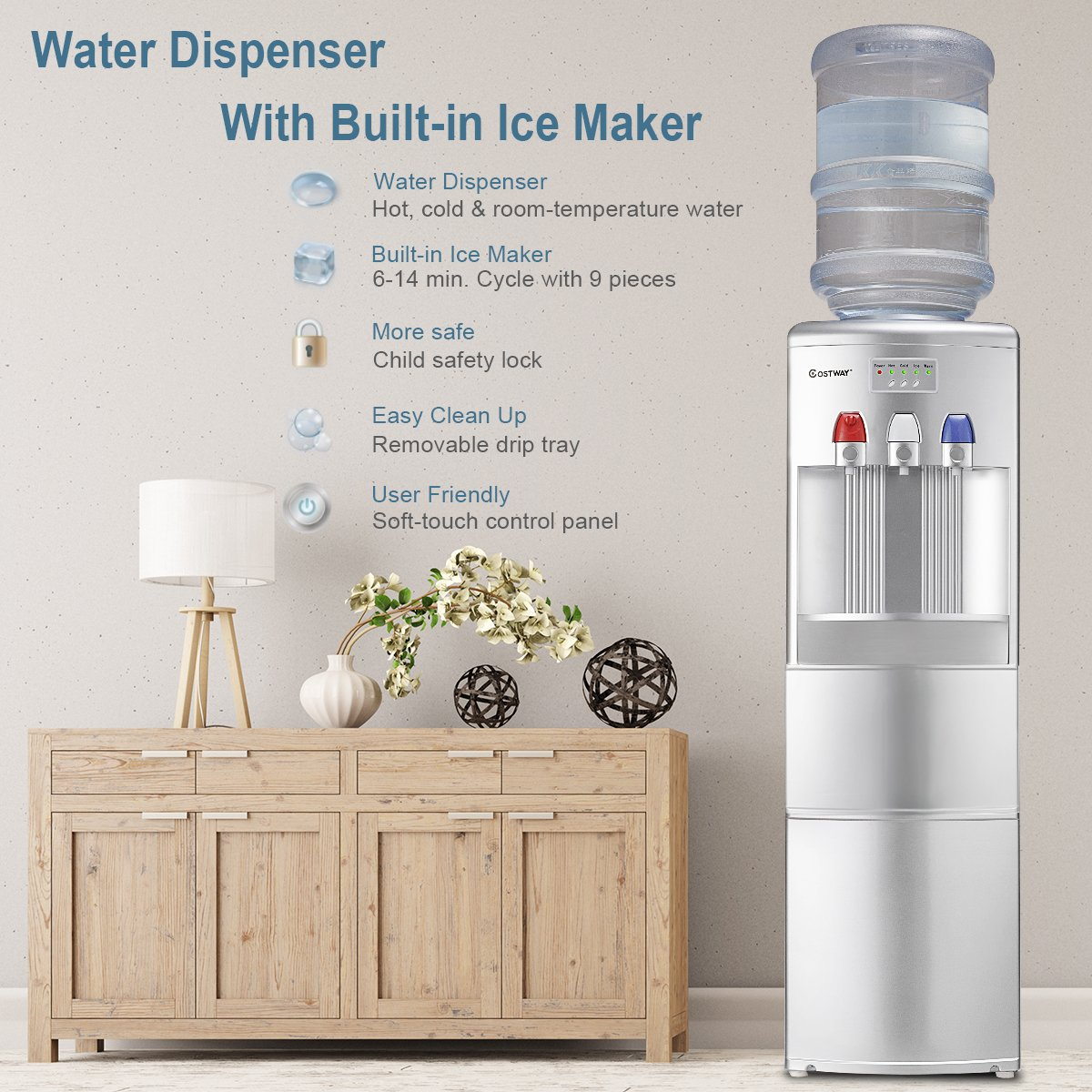 Costway 2-in-1 Water Cooler Dispenser with Built-in Ice Maker Freestanding Hot Cold Top Loading Water Dispenser 27LB/24H Ice Machine with Child Safety Lock, Silver by COSTWAY (Image #2)