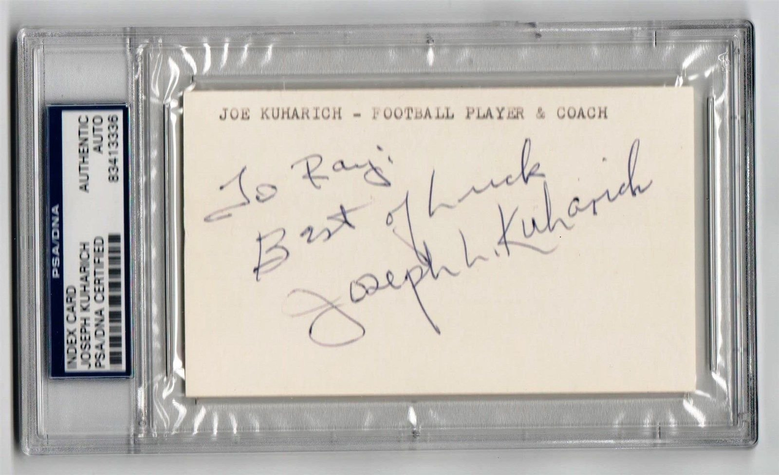 Joe Kuharich Notre Dame Coach signed 3x5 Index Card PSA/DNA Slabbed d81 RARE