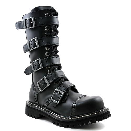 8931421f109e9 Angry Itch - 14-Agujeros Botas goticas Punk de Cuero Nero con 5 Hebillas y  con Ziper - Numéros 36-48 - Hecho in EU!  Amazon.es  Zapatos y complementos