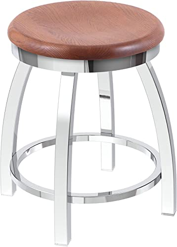 Holland Bar Stool Co. Misha Swivel Vanity Stool, 18 Seat Height, Medium Oak