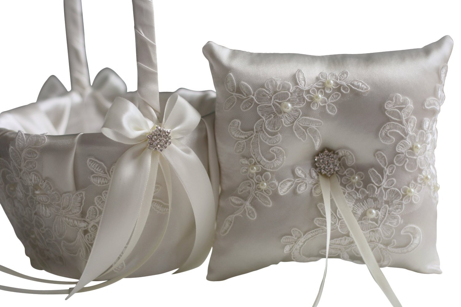 Alex Emotions | Lace Applique Collection | Off White Ring Bearer Pillow & Wedding Flower Girl Basket Set