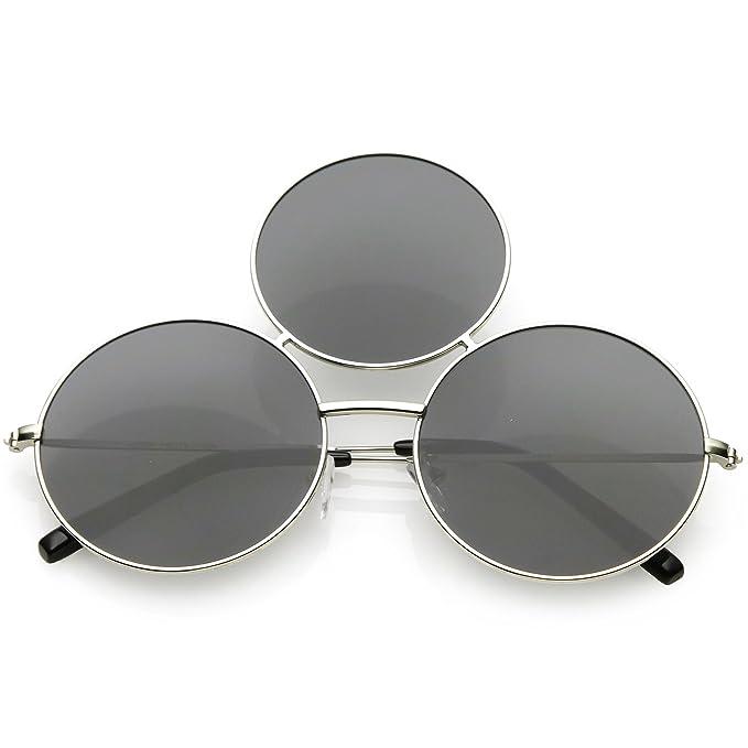 1fe0281b83a3e sunglassLA - Oversize Circle Third Eye Sunglasses For Men Women Slim Arms  56mm (Silver