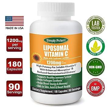 Liposomal Vitamin C 1200mg 180 Capsule 90 Serving Non GMO Vitamin C Natural Vegan High Bioavailable