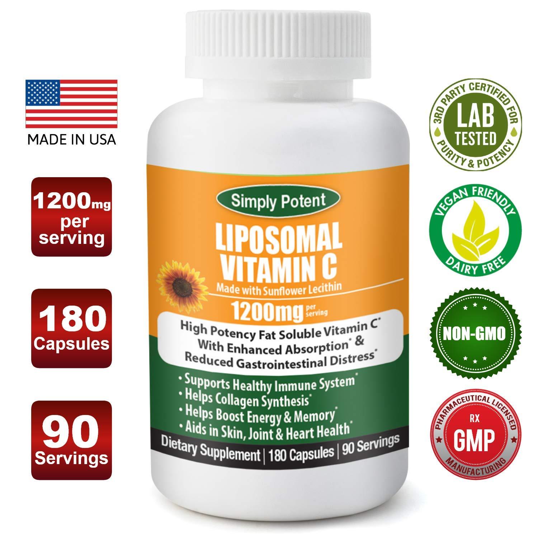 Liposomal Vitamin C 1200mg 180 Capsule 90 Serving Non GMO Vitamin C Natural Vegan High Bioavailable Vitamin C High Dose Fat Soluble Antioxidant Supports Immune System, Collagen, Skin & Heart.