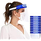 Safety Face Shields 10 Pack, Protective Face Shield Mask with Clear Wide Visor, Lightweight Transparent Dustproof…