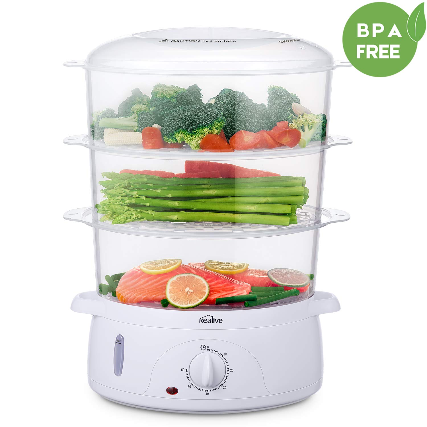 Food Steamer, Vegetable Steamer BPA-Free with Timer and 3 Tier Stackable Baskets, Electric Steamer Pot Cooker Built-in Rice Bowl , 9.5 Quart Capacity and 800W Fast Heat Up, by Kealive