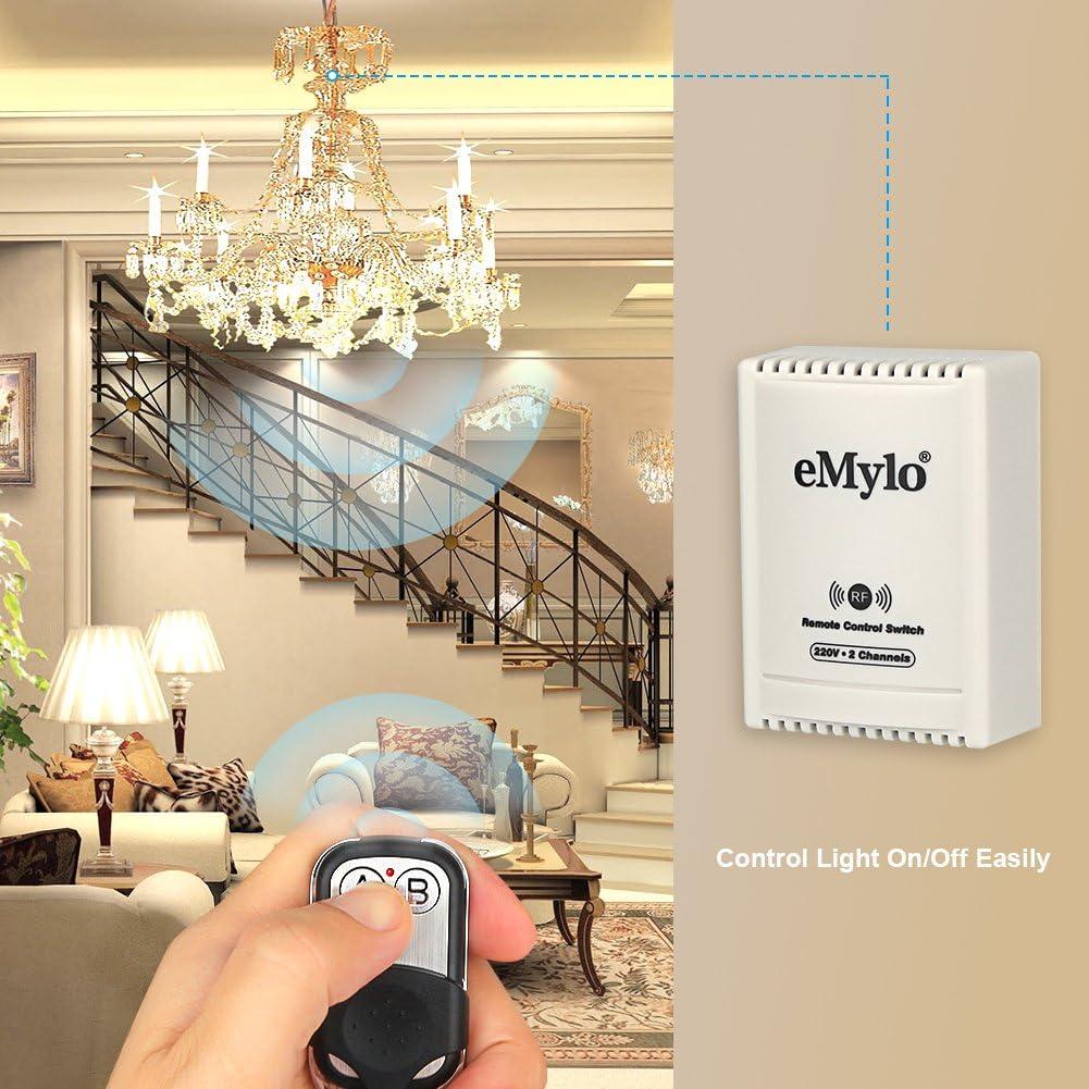 eMylo AC 220V-230V-240V 10A 1000W 2 canales Interruptor de control ...