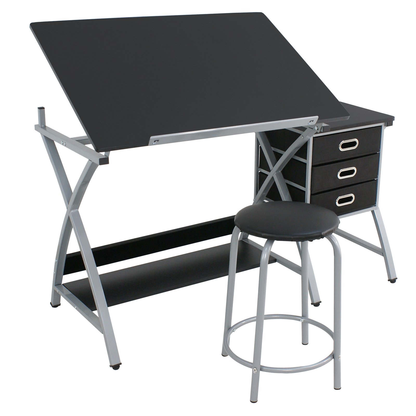 F2C Folding Adjustable Drawing Table Desk Craft Station Art Craft Hobby Drafting Table Desk with Stool and Drawers, Black