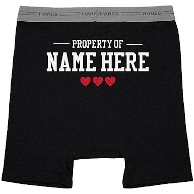 dc63ec79a28 Amazon.com  Property of Custom Name Mens Boxers  Hanes Black Boxer ...