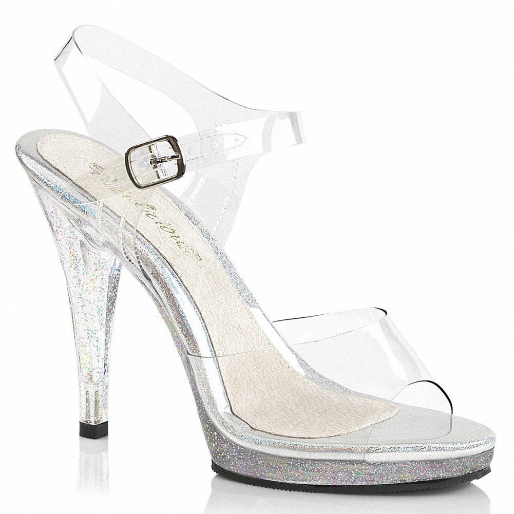 Fabulicious FLAIR-408MG Women 4 1/2 Heel, 1/2 Platform Ankle Strap Sandal B074F3QSVC 12 B(M) US|Clr/Clr