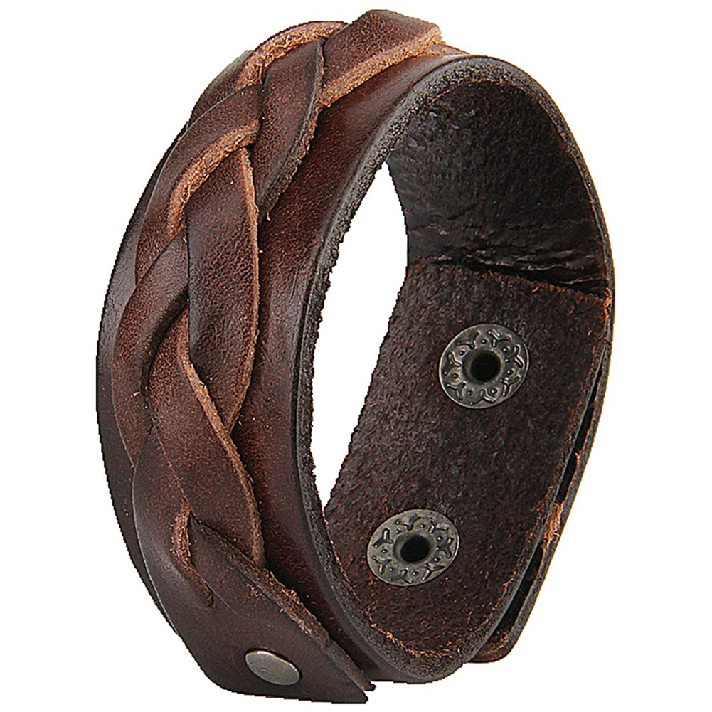 Jenia Handmade Woven Genuine Leather Bracleet Simple Men Women Casual Thin Bangle Cuff Adjustable
