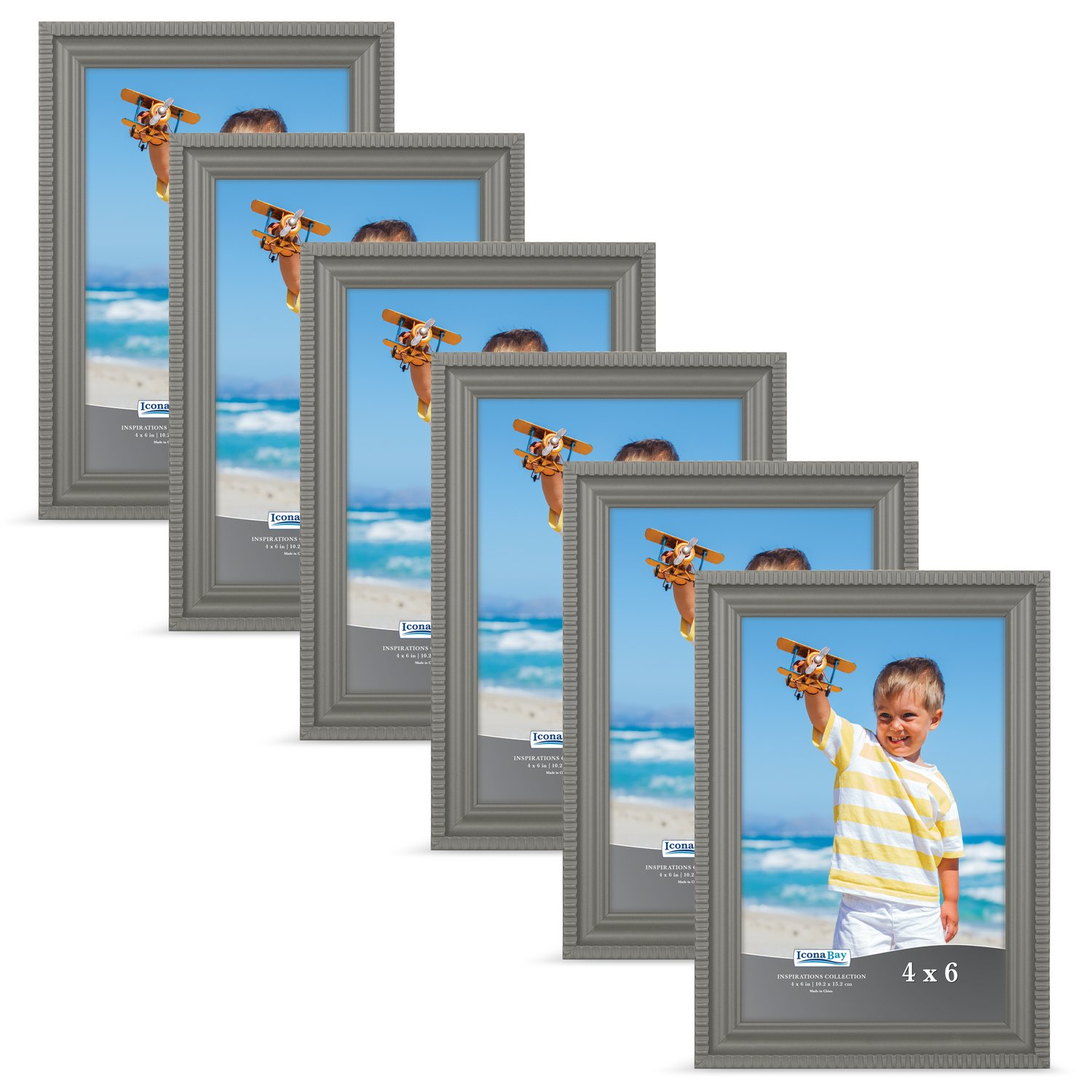 Icona Bay 4x6 Black Picture Frames (4 x 6, 2-Pack, Black), Wall Mount or Table Top Black Picture Frame, Display 4 by 6 Frame Vertically, or Horizontally as 6x4, Inspirations Collection