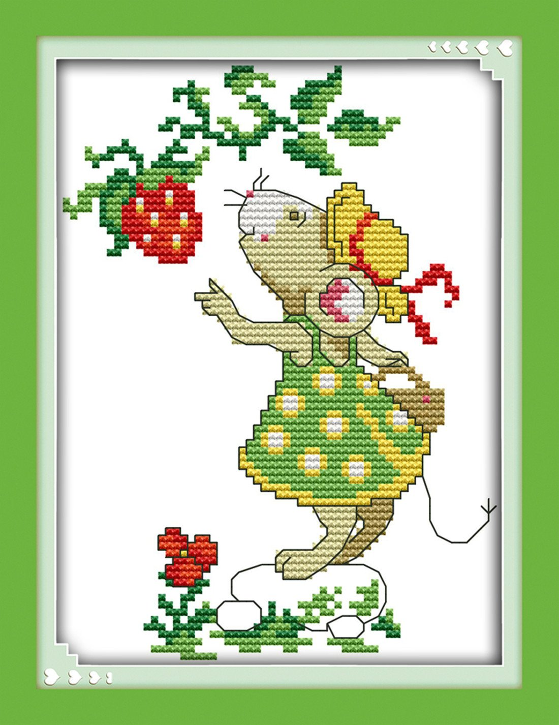 "eGoodn Stamped Cross Stitch Kits Printed Pattern - Flower Mouse, 11CT Fabric Measures 13"" By 11.4"", Wall Decor Art Embroidery Cross-Stitching, No Frame ED33"