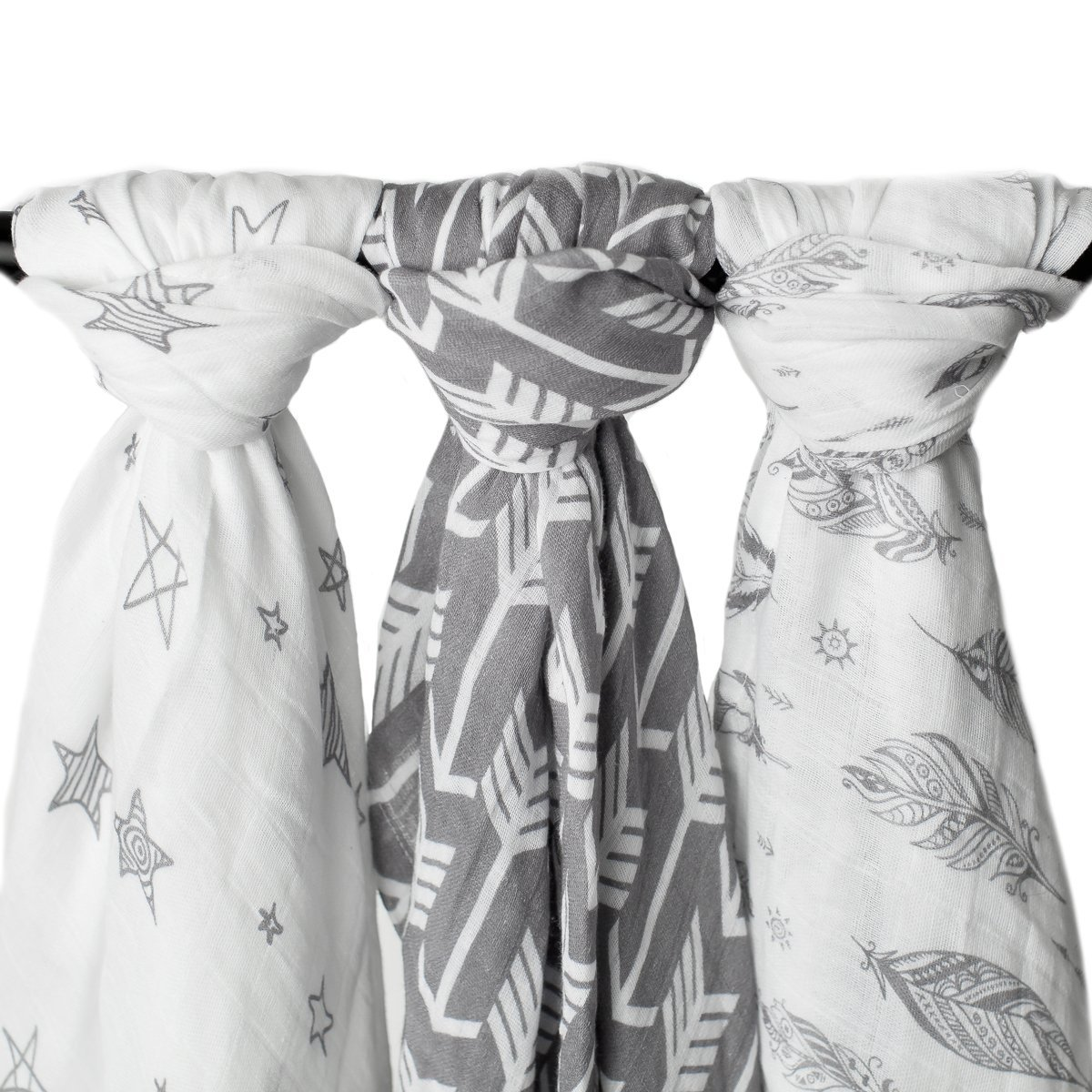 Muslin Swaddle Blankets''Wanderer Set'' Large 47x47 inch | Arrow, Feather, and Stars 3 Pack Baby Shower Gift Bundle by Kids N' Such