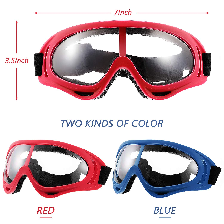 4 Pares Gafas Protectoras Gafas de Seguridad Mascara de Cara Gafas para Batalla de Juegos de Adultos y Adolescentes Marcos Azules//Rojos