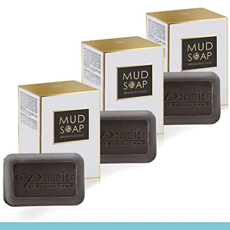 Dead Sea Premier 3-Piece Cleansing Dead Sea Mud Soap Bar, Sourced and made at the source. 100 Natural. Face, Hands Body. Mild Exfoliating, Detoxifying, Helps Treat Acne Oily Skin, for soft skin,