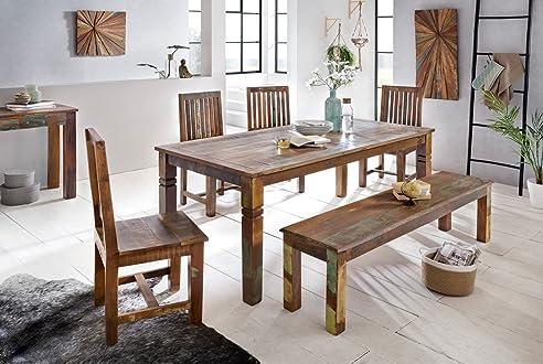 FineBuy Esszimmertisch DELHI 180 X 90 X 76 Cm Mango Shabby Chic Massiv Holz   