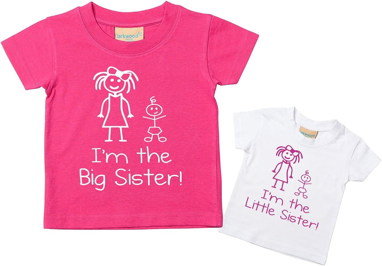 60 Second Makeover Limited I'm The Little Sister I'm The Big Sister - Juego de camiseta para bebé (tallas de 0 a 6 meses a 14 a 15 años), color rosa