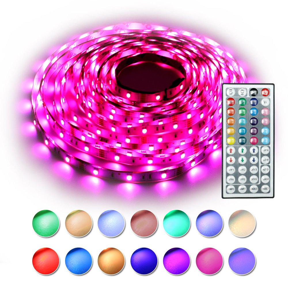 RaThun Led Strip Lights Kit 10M 32.8 Ft 5050 RGB 300 Leds Flexible Color Changing Full Kit with 44 Keys IR Remote Controller,Control Box,12V 5A Power Supply for Home lighting Decorative