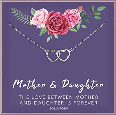 Solinfor Mother Daughter Necklace Sterling Silver Jewelry With Gift Wrapping Card Gifts For Mom Daughter Birthday Mothers Day Two