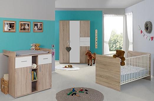 Babyzimmer / Kinderzimmer komplett Set ELISA 3 in Eiche Sonoma Weiß ...