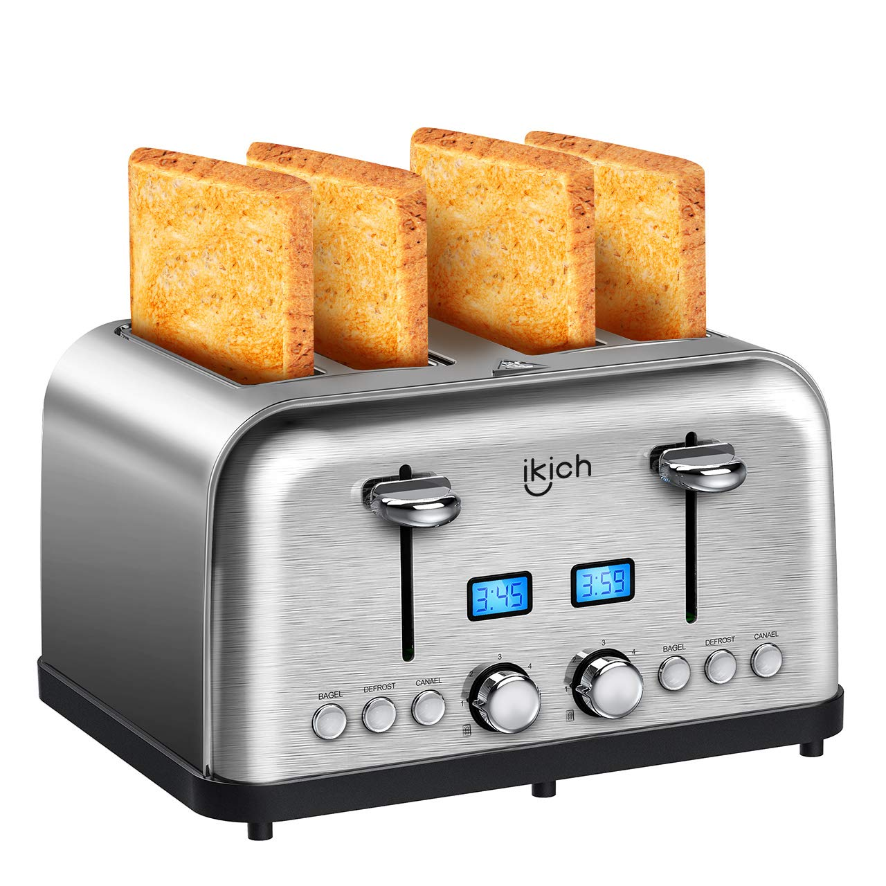 Toaster 4 Slice, IKICH Stainless Steel Bread Toaster [2 LCD Countdown Timer ] Bagel Toaster (Dual Independent Control Panels, 6 Toast Settings, Bagel/Defrost/Cancel Function, Wide Slot, 1500W, Silver)