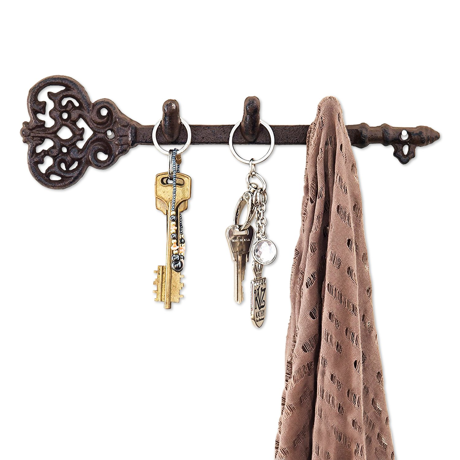 Decorative Wall Mounted Key Holder - Vintage Key With 3 Hooks - Wall Mounted - Rustic Cast Iron - 11.6 x 3''- With Screws And Anchors By Comfify