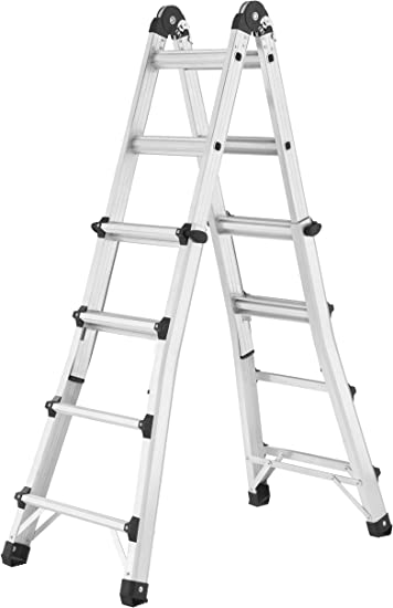 Hailo M80 7516-707 - Escalera multifunción (4 x 4 peldaños, Altura Ajustable, Escalera de Tijera/Deslizante/Empuje/inclinación, 150 kg): Amazon.es: Bricolaje y herramientas