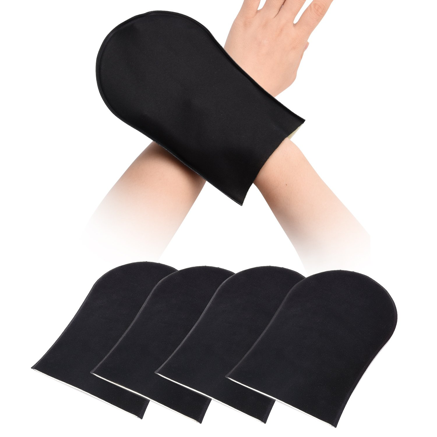 Self Tanning Mitts for Back Face Body, Exfoliating Tan Applicator, Sunless Lotion Cream Spray Tanner Gloves Set Premium Soft Black Washable Mitten Kit - (2 Pair)