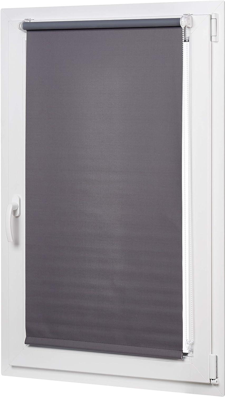 AmazonBasics - Estor opaco y enrollable, con revestimiento de color a juego, 96 x 150 cm, Gris oscuro
