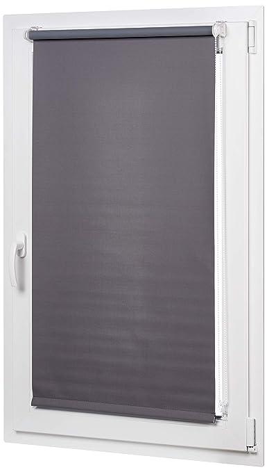 AmazonBasics - Verdunkelungsrollo mit farbiger Beschichtung, 56 x 150 cm, Dunkelgrau