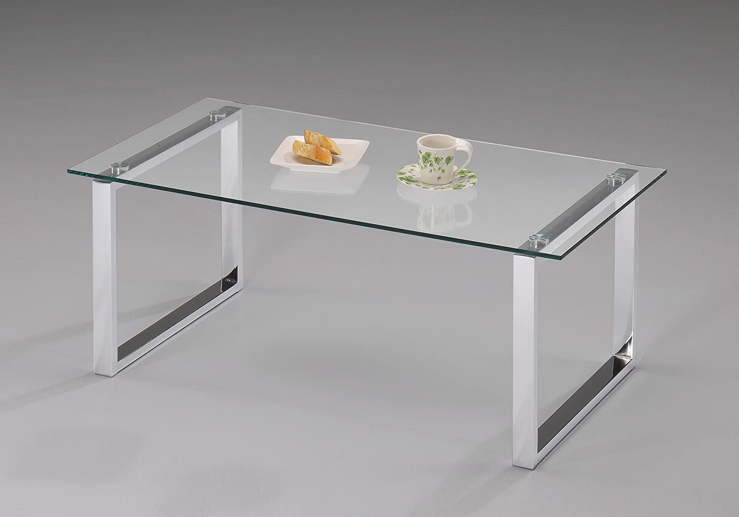Amazon.com: Kings Brand Modern Design Chrome Finish With Glass Top Cocktail Coffee  Table: Kitchen & Dining