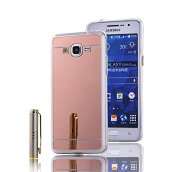 LXHGrowH Funda Samsung Galaxy Grand Prime, [Ultra Delgada] Carcasa con Espejo para Samsung Galaxy Grand Prime Cover Silicona TPU Protectora Rosado ...