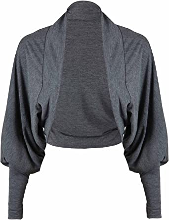 New Womens Long Sleeve Batwing Shrug Ladies Jersey Bolero Cardigan Top Size 8-26