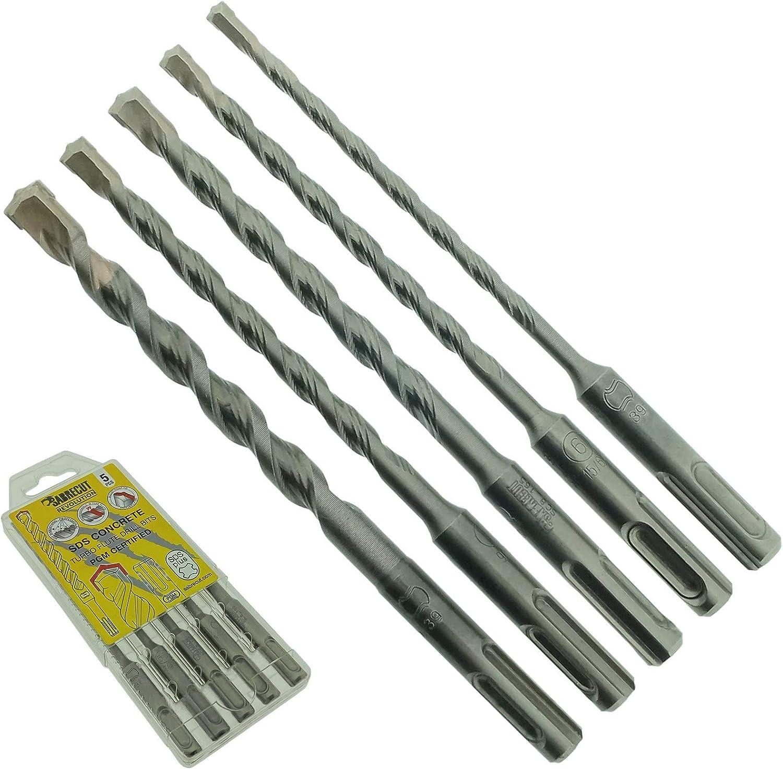Lot de 5 forets SabreCut SDSAK5 5 5 mm 6 mm 7 mm 8 mm 10 mm x 160 mm homologu/és PGM SDS Plus Kit de forets pour briques en pierre