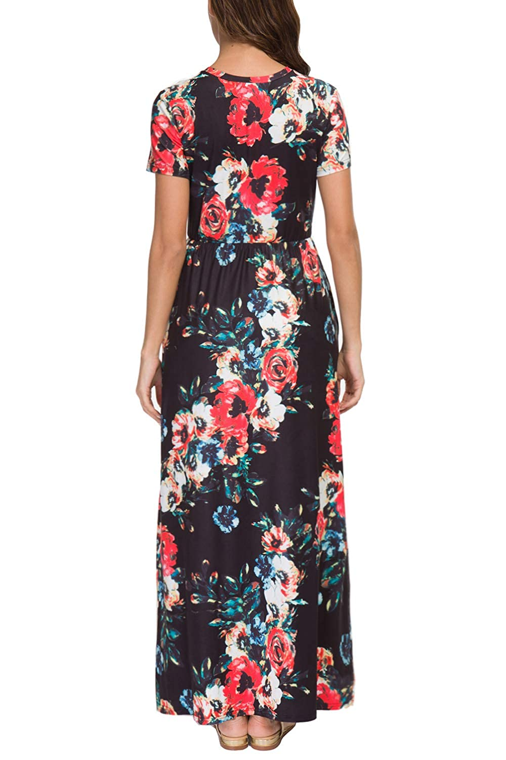 4def012c27 Zattcas Womens Summer Casual Short Sleeve Long Floral Maxi Dress with  Pockets at Amazon Women's Clothing store: