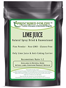 Lime Juice Powder - Natural Spray Dried & Unsweetened Non-GMO Lime Juice - Reconstitute Ratio 1:2, 12 oz (340 g)