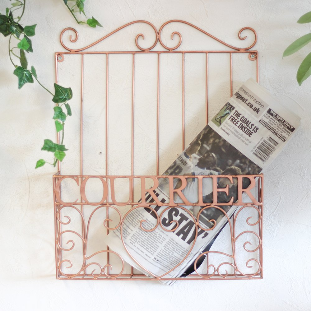Dibor Rose Copper Decorative Wall Mounted Magazine Holder - Ideal Gift For Christmas That Will Last A Lifetime (B414)