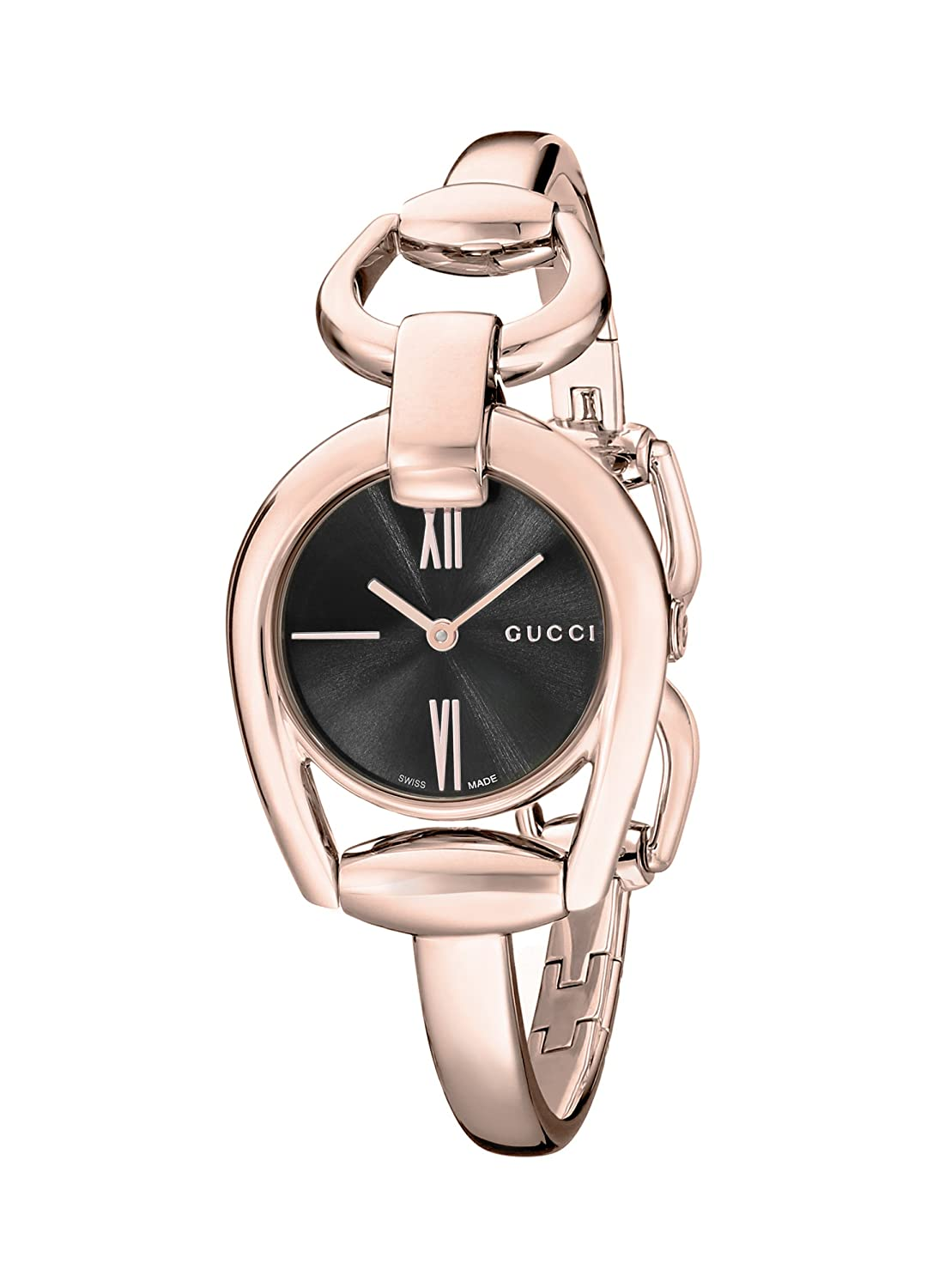 5ae19aa745b Gucci Horsebit Black Dial Rose Gold PVD Ladies Watch  Amazon.ca  Watches