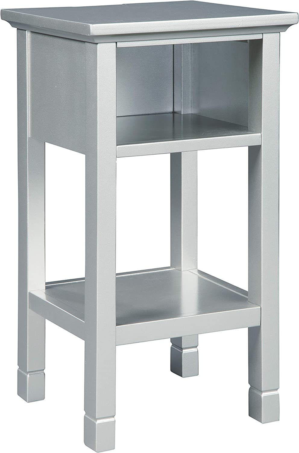 Signature Design by Ashley - Marnville Accent Table - With USB Hook-Up - Contemporary - Silver Finish