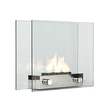 Southern Enterprises Glass Loft Portable Indoor/Outdoor Fireplace ...