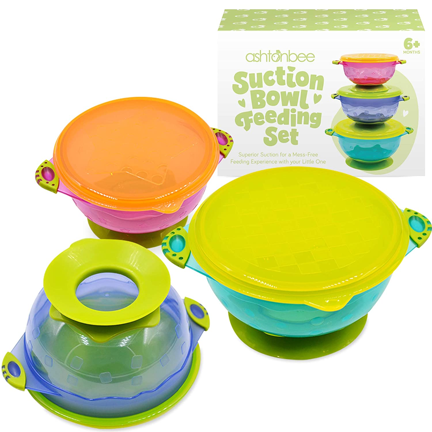 Suction Bowl with Lid  No Spill Baby Dish Toddler Feeding Bowl BPA Free x3