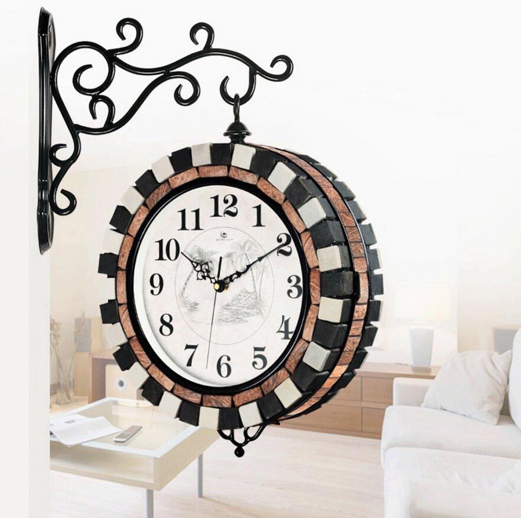 TXXM® リビングルーム両面時計庭ファッションクリエイティブクォーツ時計鍛造鉄ミュート金属ウォールクロック B07F1R47T9
