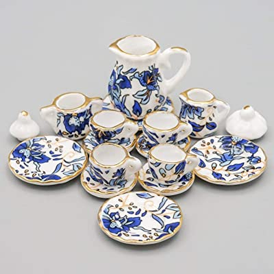 Odoria 1:12 Miniature 15PCS Blue Porcelain Chintz Tea Cup Set with Golden Trim Dollhouse Kitchen Accessories: Toys & Games