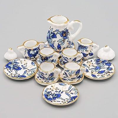 Odoria 1:12 Miniature 15PCS Blue Porcelain Chintz Tea Cup Set with Golden Trim Dollhouse Kitchen Accessories: Toys & Games