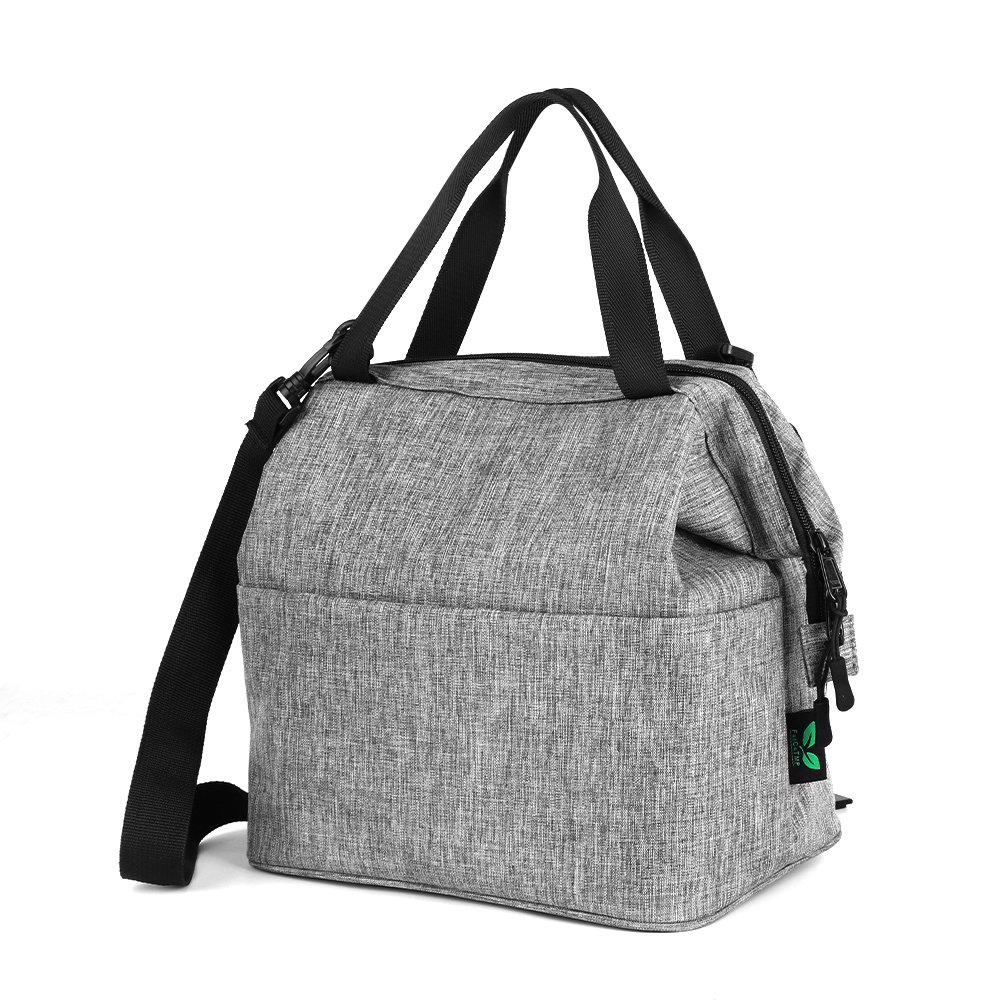Lunch Bag Box Insulated Lunch Tote Bag Cooler with YKK Zipper, Extra Pocket Shoulder Strap For Meal Prep Men Women Kids Adults 9 Cans (Grey N24) by F40C4TMP